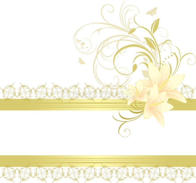 Beira com lírios e o ornamento floral ilustração do vetor