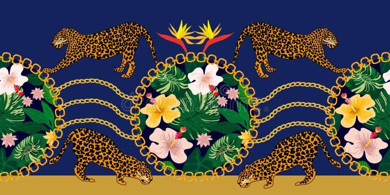 Beira com leopardos, tigres e as plantas tropicais ilustração royalty free
