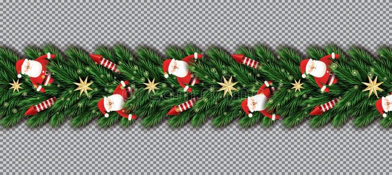 Beira com Santa Claus, ramos de árvore do Natal, estrelas douradas a ilustração royalty free