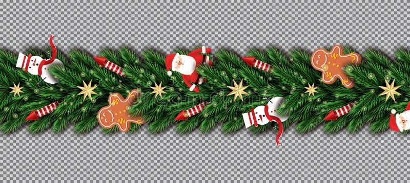 Beira com Santa Claus, ramos de árvore do Natal, estrelas douradas ilustração royalty free