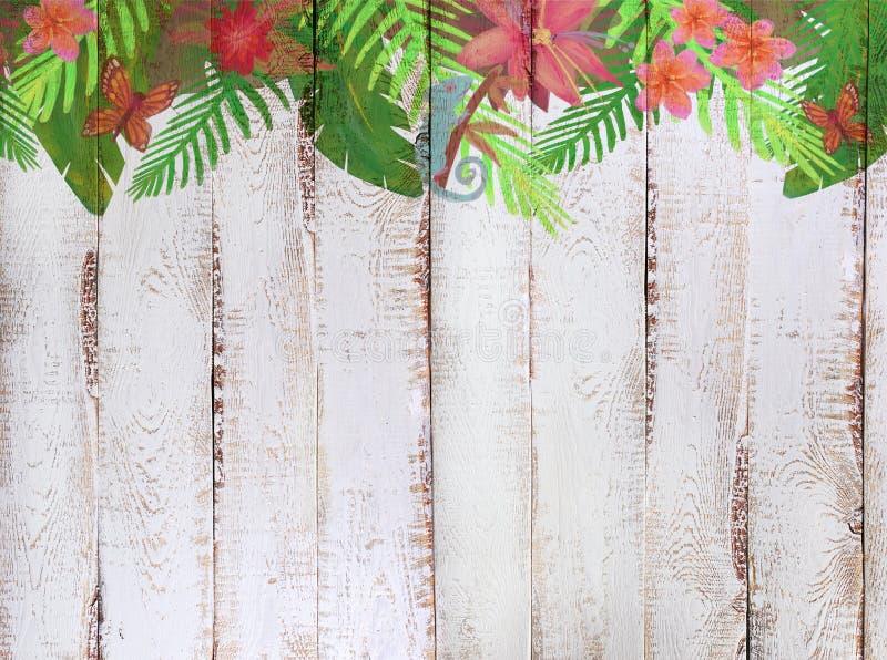 Beira com teste padrão tropical da selva no fundo de madeira branco ilustração do vetor