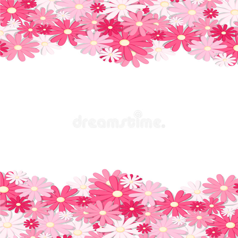 Beira cor-de-rosa da flor Projeto de cartão elegante do vintage Papel de parede floral, horizontalmente teste padrão sem emenda I ilustração do vetor
