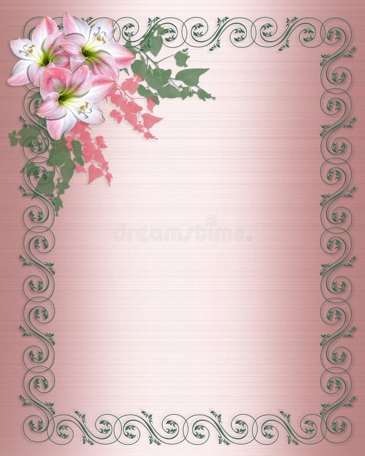 Beira cor-de-rosa do convite da flor do Amaryllis ilustração stock
