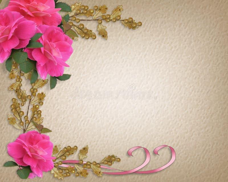 Beira cor-de-rosa do convite das rosas ilustração stock