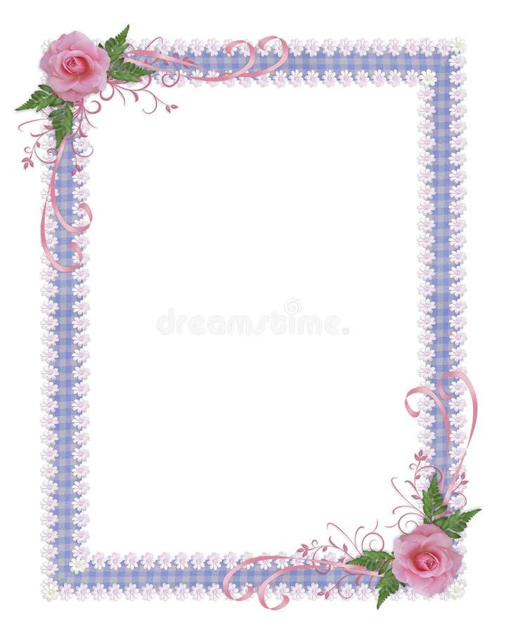 Beira cor-de-rosa do convite do país das rosas ilustração stock
