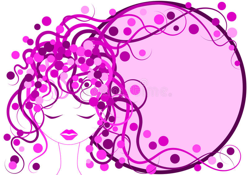 Beira cor-de-rosa do quadro da menina do cabelo ilustração do vetor