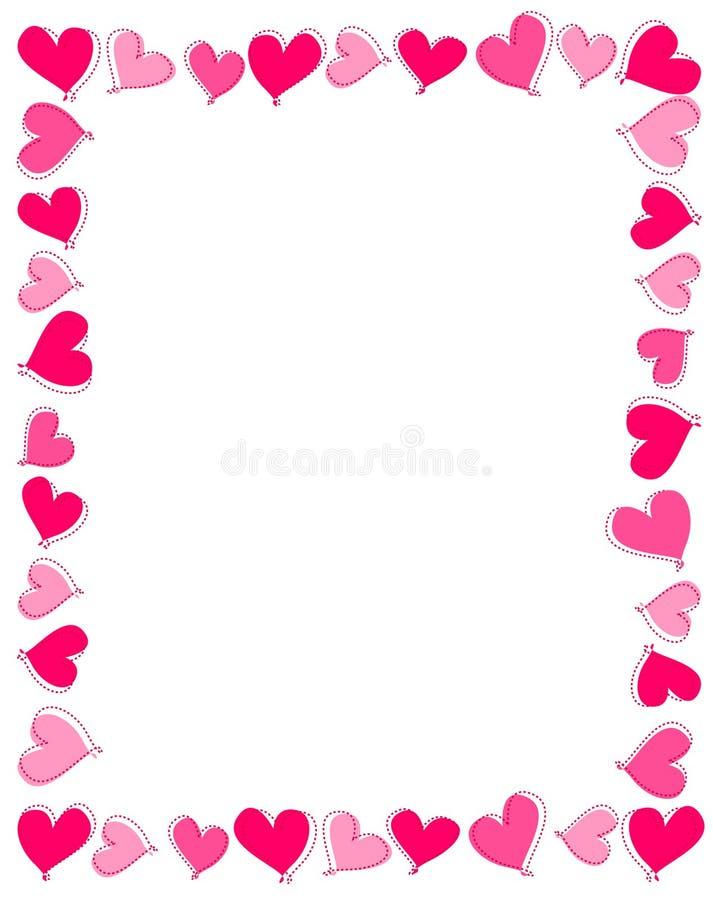 Beira cor-de-rosa dos corações ilustração royalty free