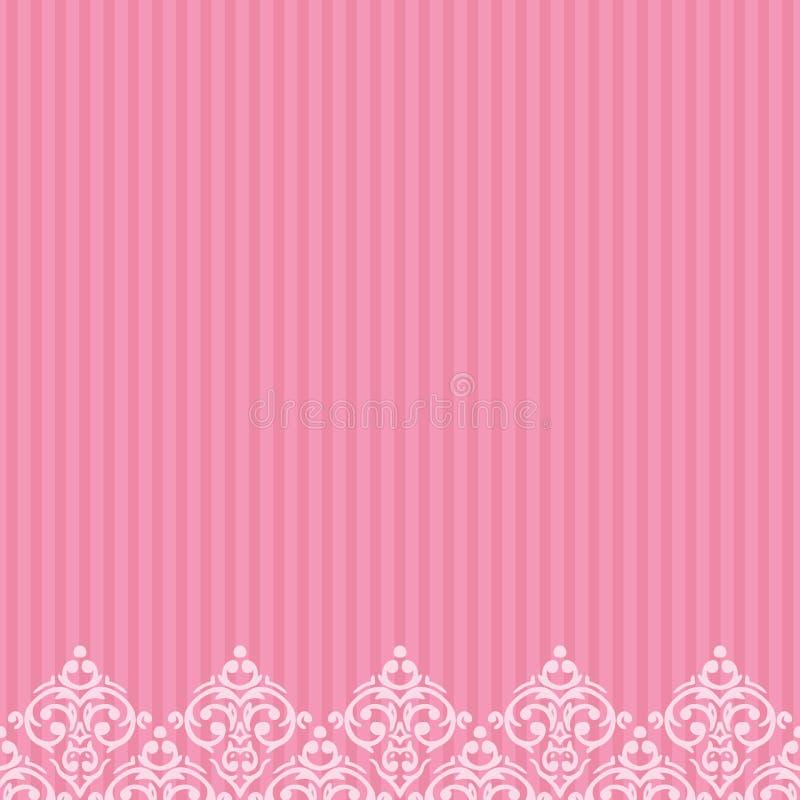Beira cor-de-rosa no estilo barroco do damasco ilustração do vetor