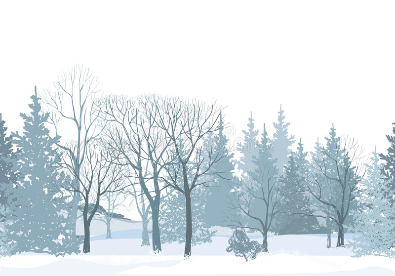 Beira da árvore da neve do Natal Teste padrão sem emenda da floresta nevado ilustração royalty free