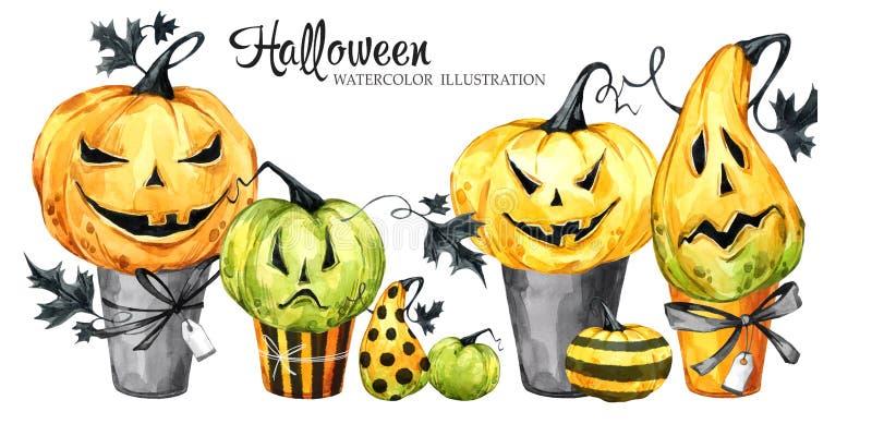 Beira da aquarela, grupo de bolos com abóboras dos desenhos animados Ilustração do feriado de Dia das Bruxas Sobremesa engraçada  ilustração stock