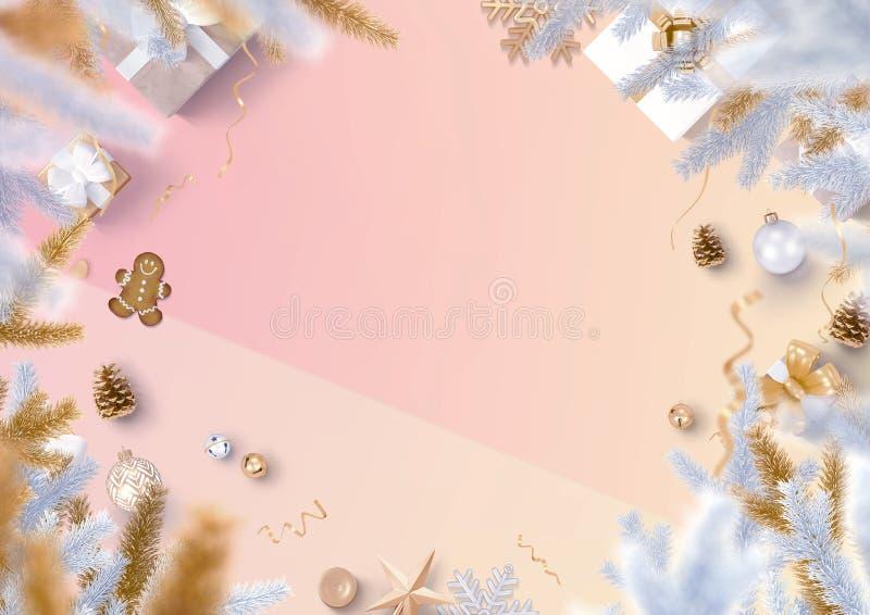 Beira da decoração do Natal e fundo de papel na moda do inclinação ilustração stock