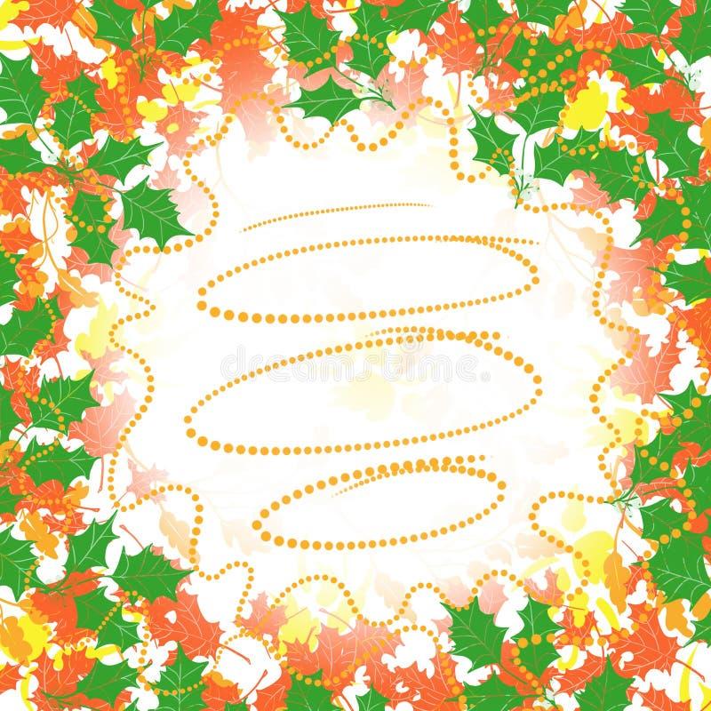 Beira da grinalda das folhas do azevinho com o centro branco aberto para o texto, olhar da queda do feriado do fundo ilustração do vetor