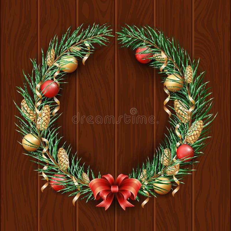Beira da grinalda do Natal Quadro do pinho verde Feliz Natal e ano novo feliz 2019 Ramos de uma árvore de Natal na neve d ilustração do vetor