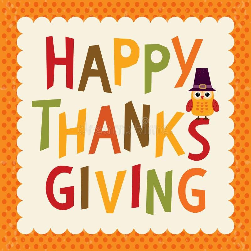 Beira da laranja da coruja do cartão de texto da ação de graças