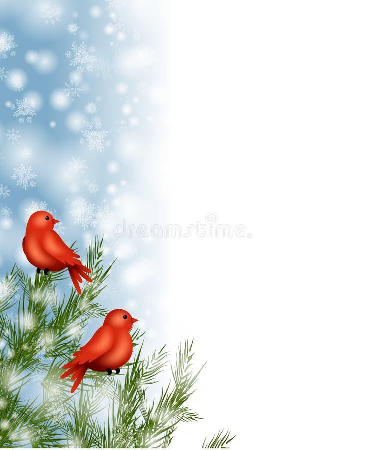Beira da neve dos pássaros do inverno ilustração do vetor