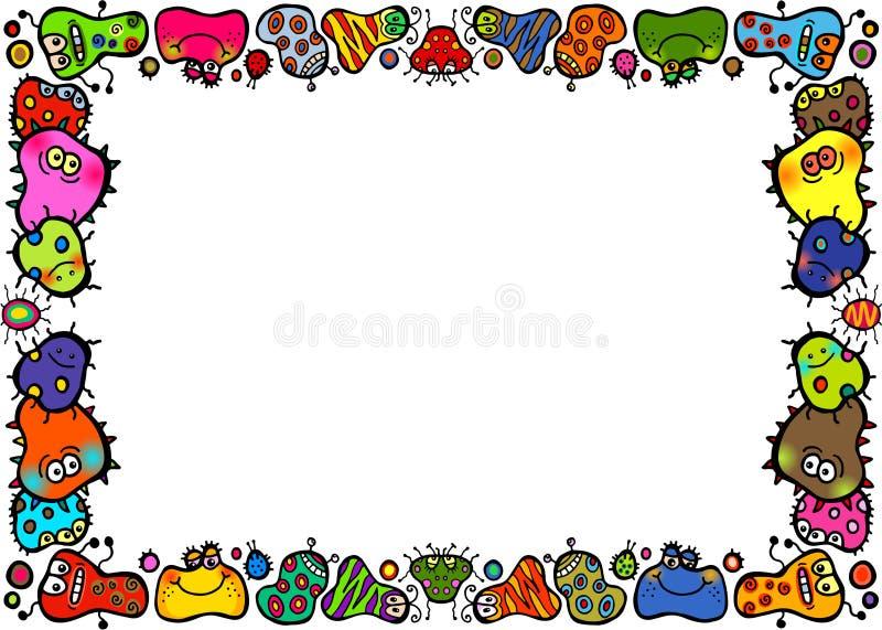 Beira da página das bactérias dos desenhos animados da garatuja ilustração stock