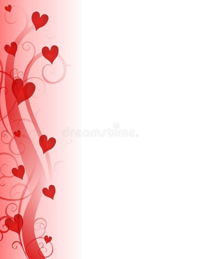 Beira da página dos corações do dia do Valentim vermelho ilustração royalty free
