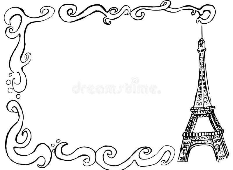 beira da torre Eiffel ilustração stock