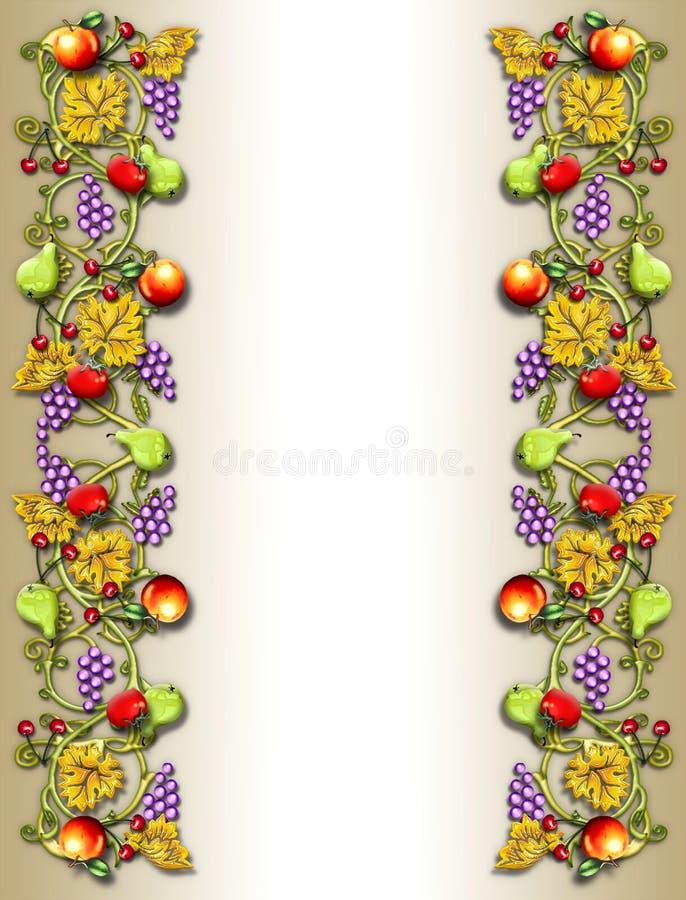 Beira da videira da fruta & do veggie ilustração royalty free