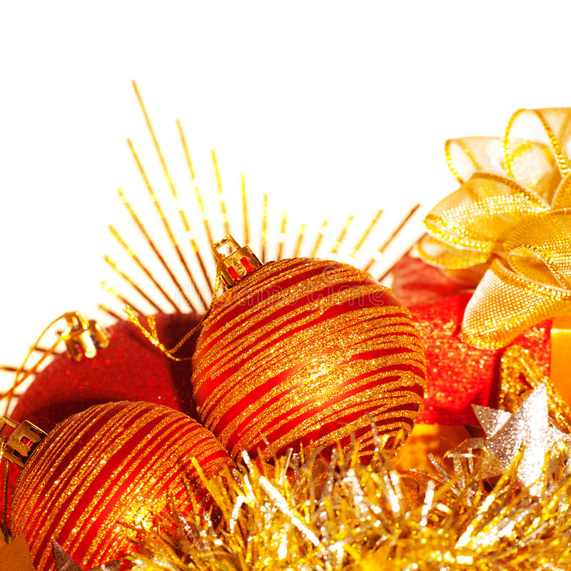Beira das esferas da árvore de Natal fotos de stock royalty free