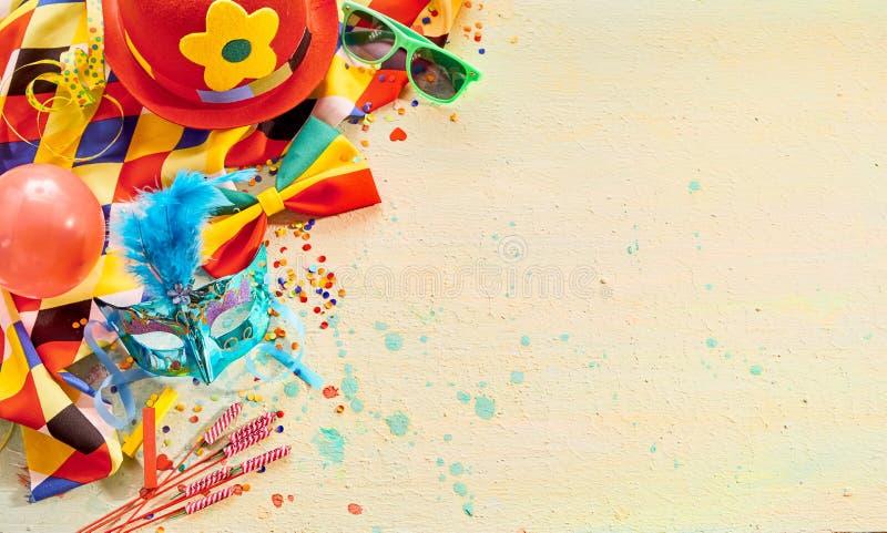 Beira de canto de decorações brilhantes do carnaval foto de stock