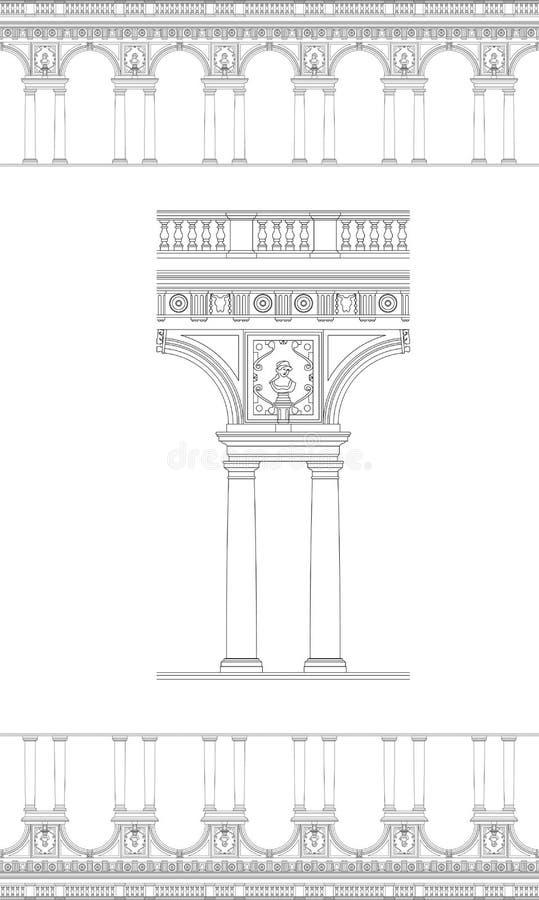 Beira de coluna antiga ilustração stock