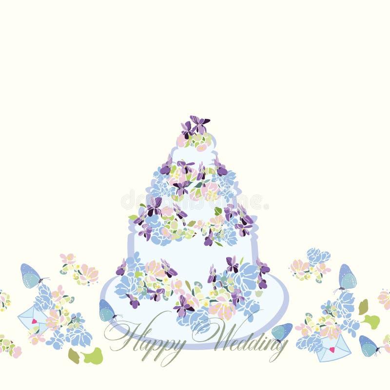 Beira de creme com bolo e flores de casamento ilustração royalty free