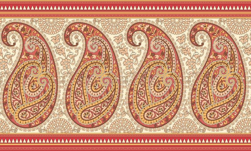Beira de paisley do indiano ilustração royalty free