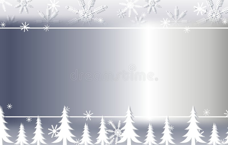 Beira de prata 2 do floco de neve e do fundo das árvores ilustração stock
