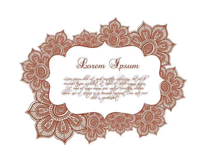 Beira decorativa das flores - ate o quadro floral, ornamento oriental Vetor ilustração royalty free