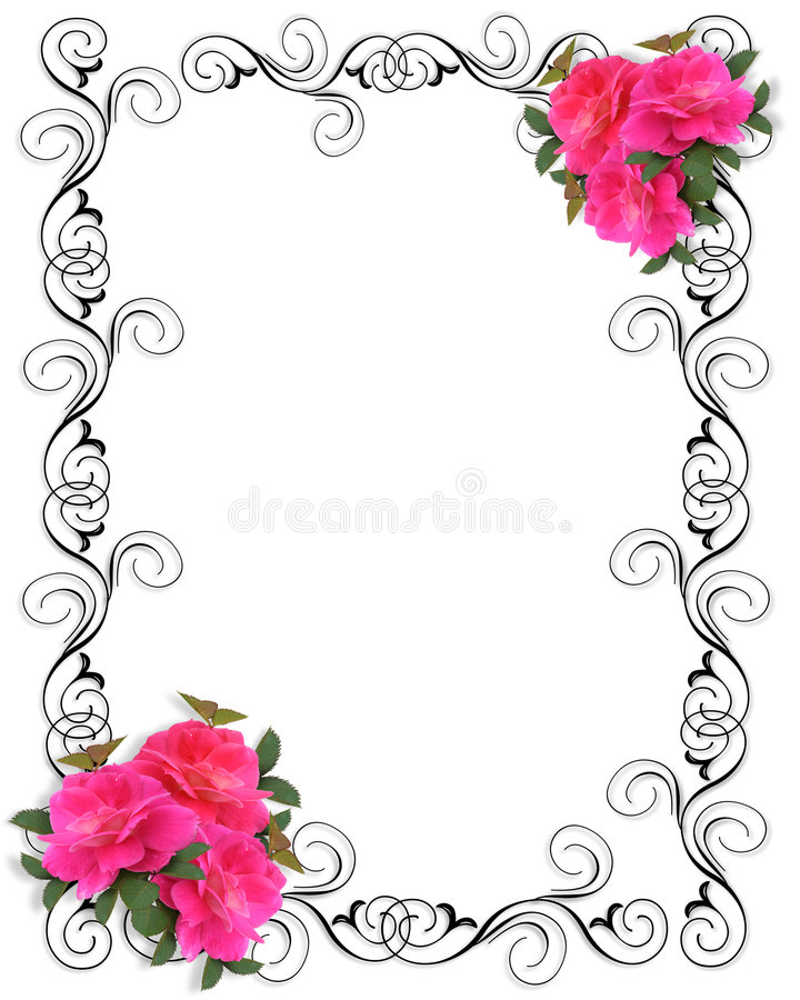 Beira decorativa do convite cor-de-rosa das rosas ilustração do vetor