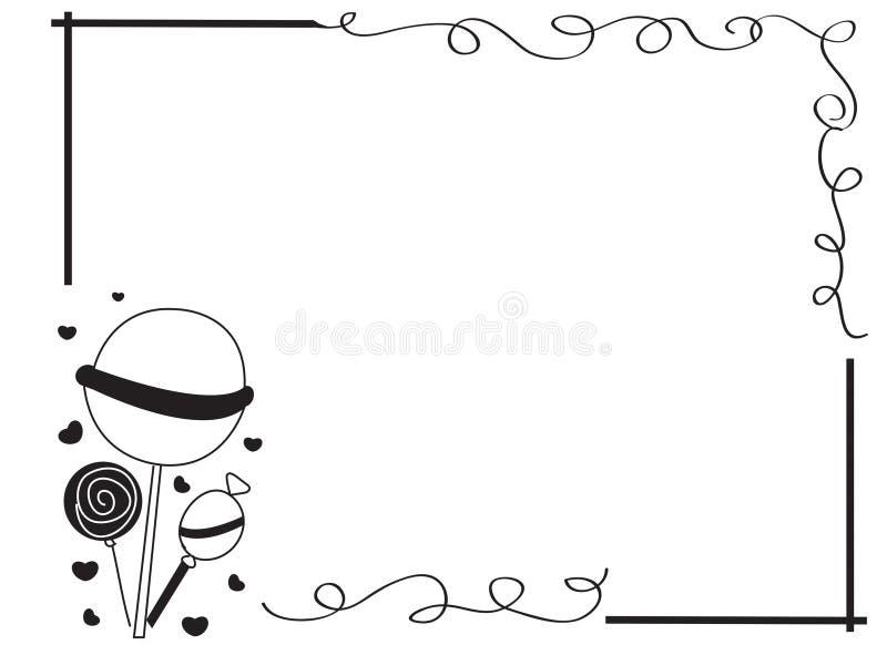 Beira decorativa do quadro com pirulitos ilustração royalty free