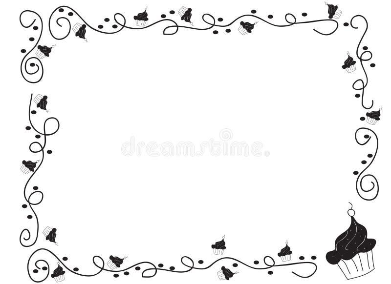 Beira decorativa do quadro com queques ilustração stock