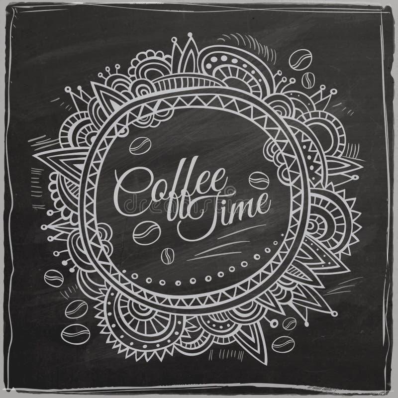 Beira decorativa do tempo do café ilustração stock