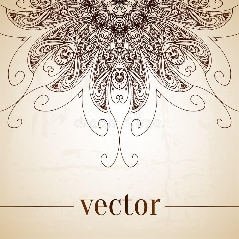 Beira decorativa floral do círculo do vetor do vintage ilustração do vetor