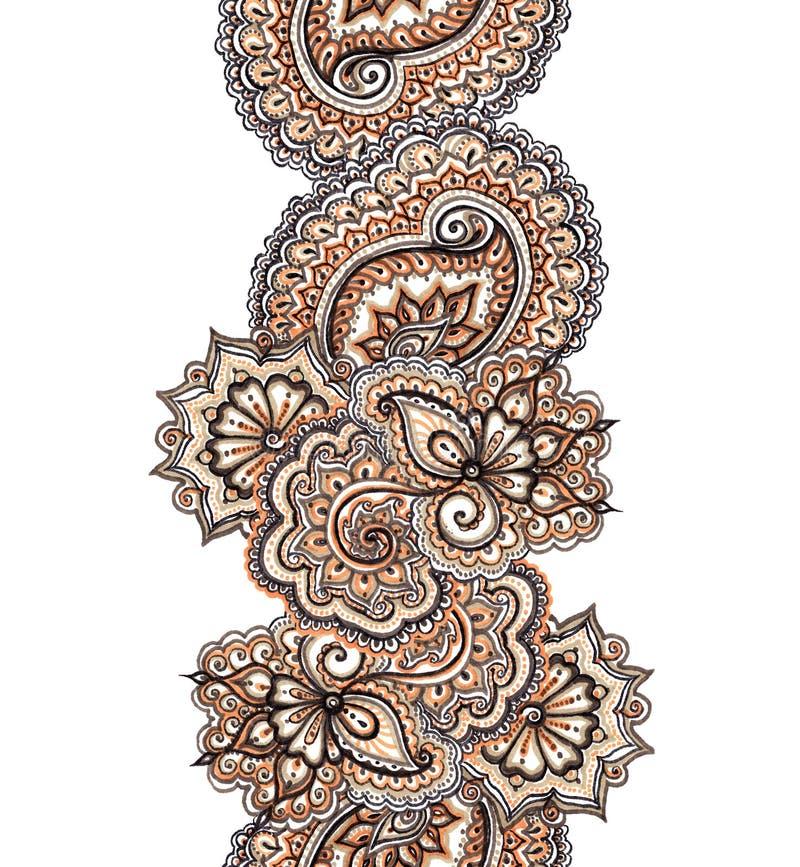 Beira decorativa indiana pintada marcador Quadro étnico sem emenda ilustração royalty free