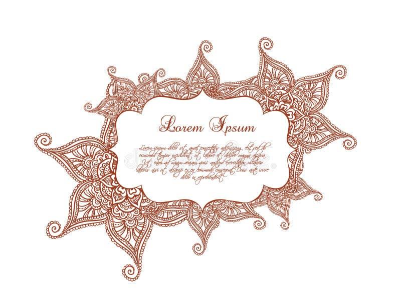 Beira decorativa - quadro decorativo, ornamento indiano com flores Vetor ilustração royalty free