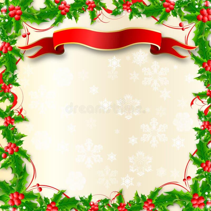 Beira do azevinho do Natal ilustração stock