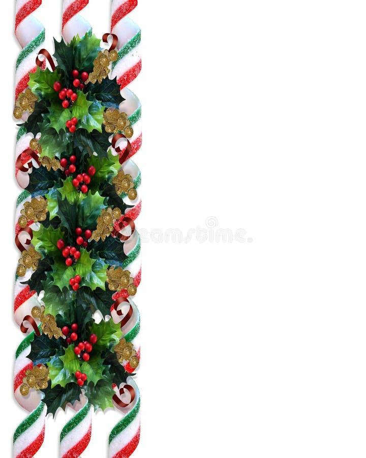 Beira do azevinho do Natal com doces da fita ilustração stock