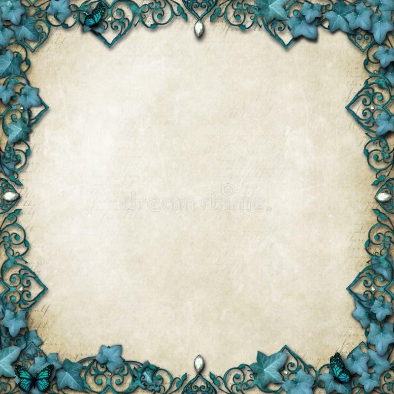 Beira do conto de fadas com videiras & borboletas imagens de stock