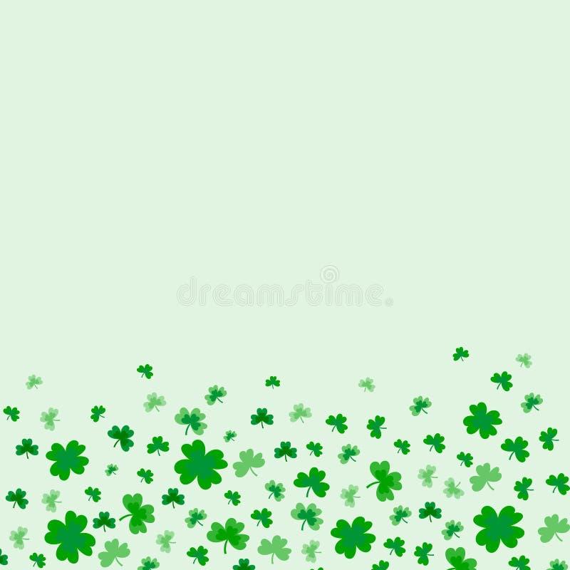 Beira do dia de St Patrick com quatro verdes e trevos da folha da árvore ilustração royalty free