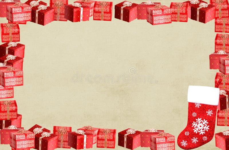 Beira do frame do Natal com caixas atuais ilustração royalty free