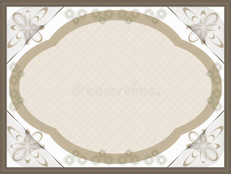 Beira do Guilloche do certificado do comprovante do presente ilustração stock
