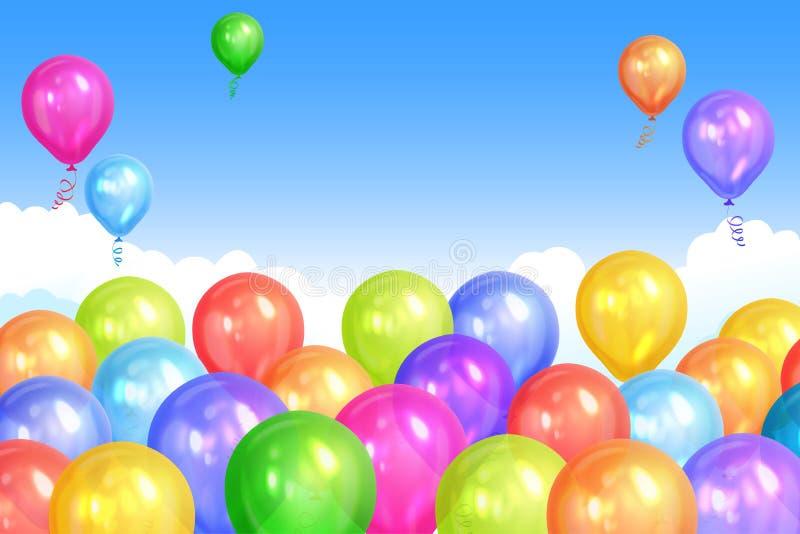 A beira do hélio colorido realístico balloons no céu ilustração do vetor