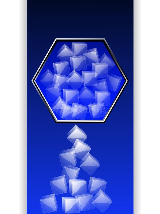 Beira do hexágono com os cubos de gelo sobre a obscuridade - painel azul ilustração stock