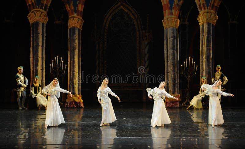 Beira do lago-bailado ortodoxo O Lago das Cisnes da cisne da freira- imagem de stock