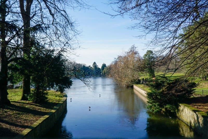 Beira do lago na universidade de Nottingham fotos de stock royalty free