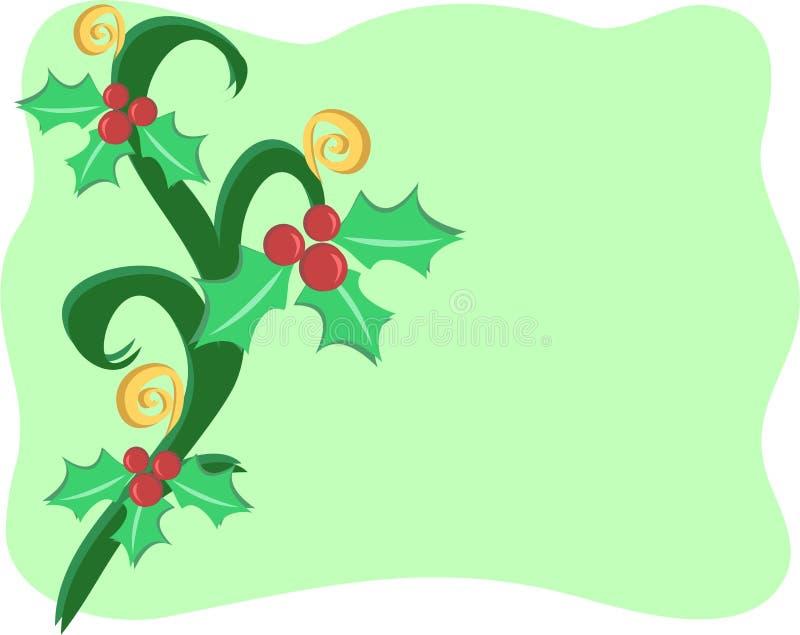 Beira do Natal com as decorações do azevinho e do Spi ilustração do vetor