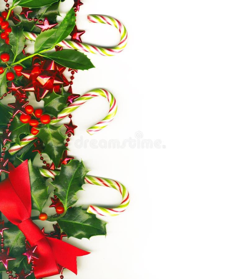 Beira do Natal com bastões de doces fotografia de stock royalty free