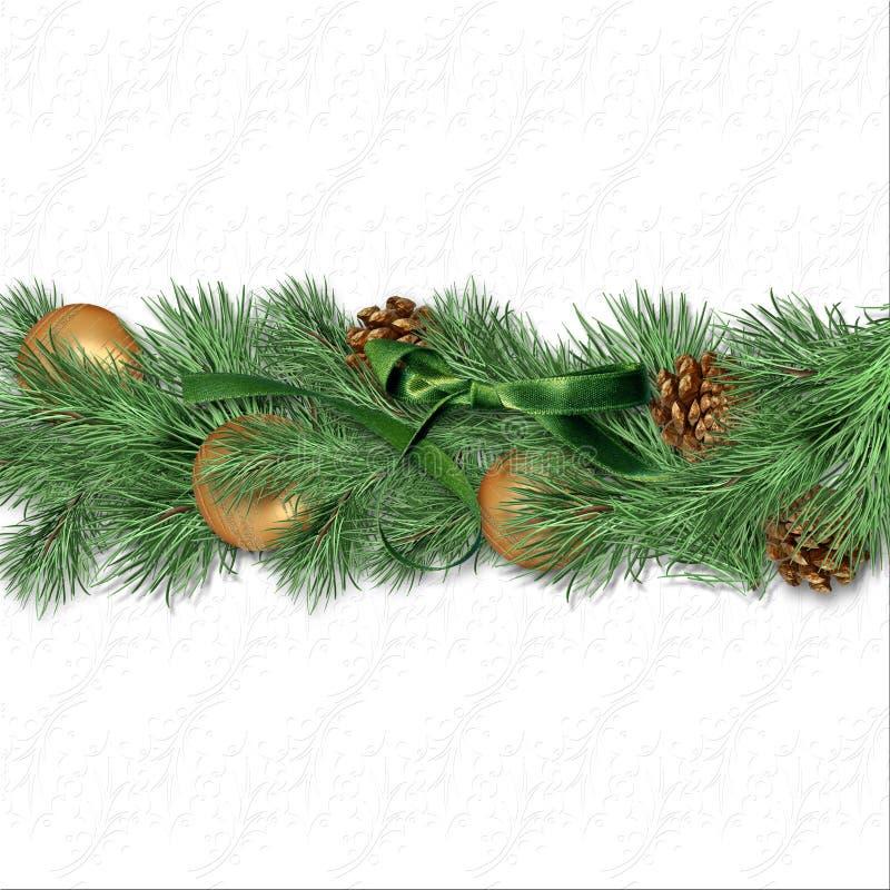 Beira do Natal com ramos do abeto, bolas do ouro e whi do ¾ n dos cones Ð fotos de stock royalty free